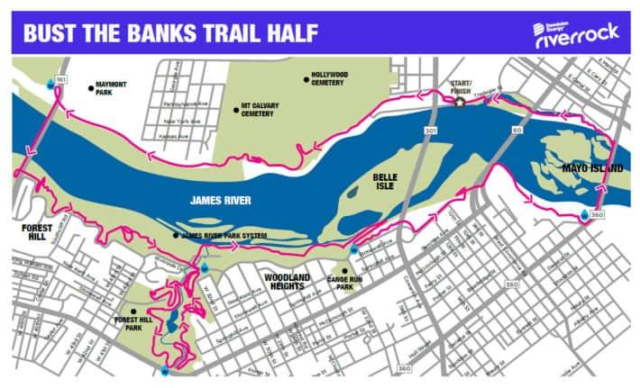 Bust the Banks Trail Half Marathon Map